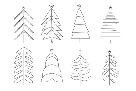 Collection of Christmas trees of different shapes. Simple decorative elements for greeting cards, posters or invitations. Thin line vector icons. Hand drawn illustration isolated on white background. Çizim