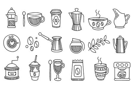 Collection of linear coffee icons. Tasty and hot drinks espresso, latte, cappuccino, tea. Graphic elements for decoration or cafe menu. Hand drawn vector illustration isolated on white background.
