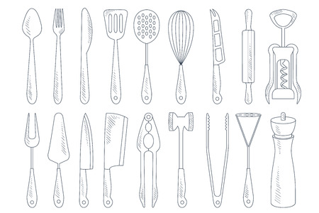 Collection of cutlery and various kitchen utensils for cooking. Garlic press, corkscrew, meat cleaver, rolling pin, whisk. Detailed hand drawn illustration. Vector icons isolated on white background. Stock Illustratie