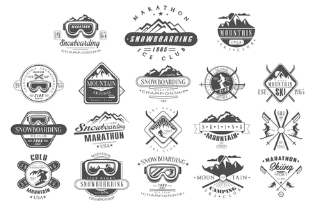 Collection of vintage logos for ski club. Snowboarding championship. Monochrome emblems of tournament. Extreme winter sport. Mountain camping. Outdoor activity. Vector design for t-shirt print, poster