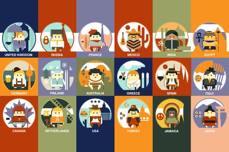 Boys dressed in different national costumes set, nationalities of the world colorful vector illustration, web design