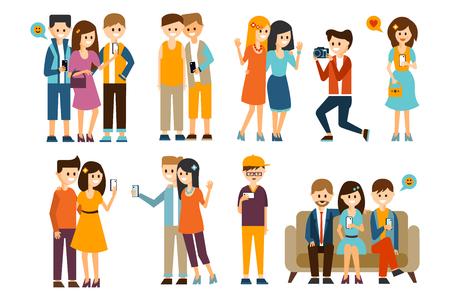 Die Menschen , die Fotos von den Fingern in verschiedenen Situationen eingestellt werden , vector Illustration auf einem weißen Hintergrund Standard-Bild - 98775603