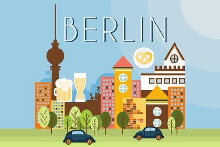 Berlin, travel landmarks, city architecture vector illustration in flat style Illustration
