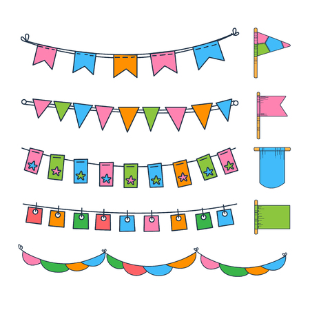Colorful bunting, party flags, festival, birthday, holiday decoration vector illustration on a white background.