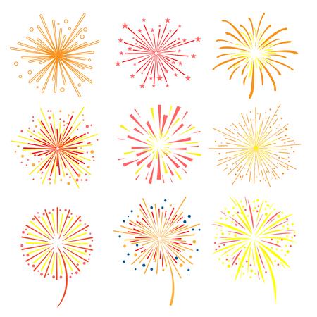Brightly celebration fireworks set, holiday and party firework design elements vector illustration  イラスト・ベクター素材