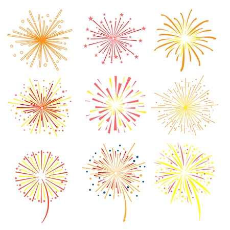 Brightly celebration fireworks set, holiday and party firework design elements vector illustration Illustration