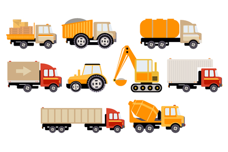 Construction and cargo transport big set, equipment for building and trucks vector illustration on a white background. Illustration