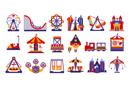 Amusement park elements, ferris wheel, circus, carousel, attractions set vector illustration on a white background.