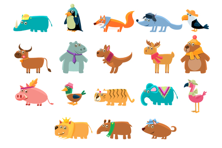 Cute animals big set in bright colors childish vector illustration on a white background. Illustration