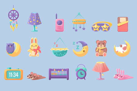 Newborn infant big set, toys and accessories for baby vector Illustrations isolated on a white background.
