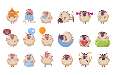Funny sheep cartoon characters big set, ram with different situations and emotions vector illustration on a white background.
