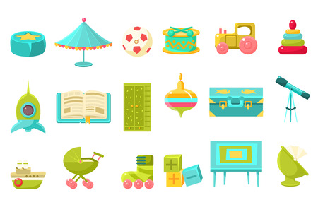 Baby toys big set, preschool children toys and furniture for nursery vector illustration on a white background.