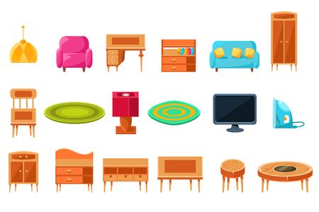 Mieszkanie duży zestaw mebli, szafki lub życia meble i akcesoria ilustracji wektorowych na białym tle.