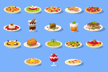 Food big set, Italian cuisine dishes pizza, pasta and desserts vector illustration on a light blue background.