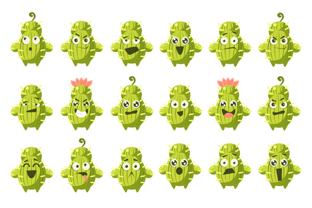Cactus characters big set, funny cacti with different emotions vector illustration on a white background.