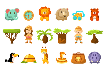 Safari big set, kids and funny african animals, birds, trees vector illustration on a white background.