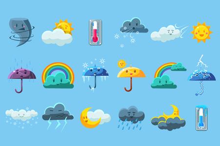 Weather forecast big set, meteorology symbols collection vector illustration on a on a light blue background. Ilustração