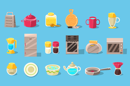 Kitchen utensils and appliances big set, cooking elements vector illustration on a light blue background. 向量圖像