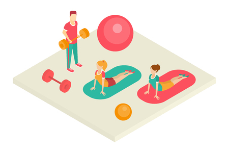 People going in for sports in fitness center, interior of gym vector illustration on a white background.