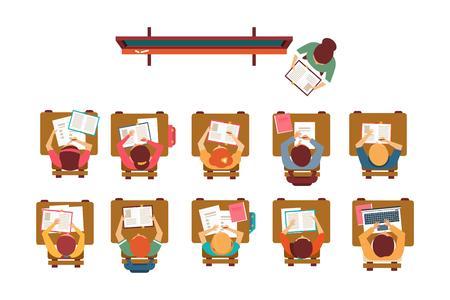 Kids sitting at desks in classroom, teacher standing at blackboard and giving lesson top view vector illustration, flat style