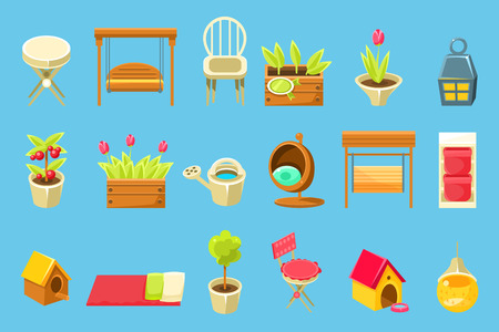 Gardening tools and decorative elements, elements for work and leisure in the garden vector illustration on a light blue background.