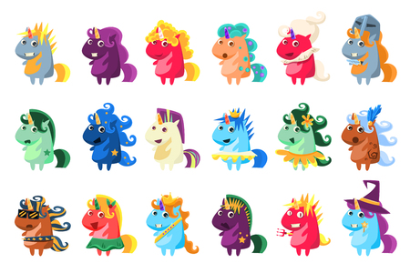 Magic unicorn big set, colorful unicorns with different emotions vector illustration on a white background.