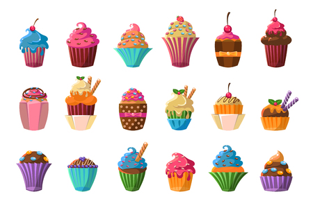 Sweet cupcakes big set, creamy pastries decorated with waffles, candies, strawberry, cherry, chocolate vector illustration on a white background.