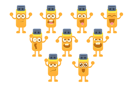 Memory card character set, usb stick with different emotions vector illustration on a white background.