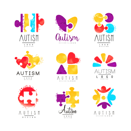 Vector set of multi-colored logo for Autism Awareness Day with puzzle pieces, hearts and human silhouettes. Design for postcards, wellness centers, organizations helping people with Down Syndrome.