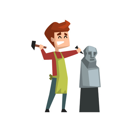 Male artist character making a sculpture of human head, craft hobby or profession vector Illustration isolated on a white background.  イラスト・ベクター素材