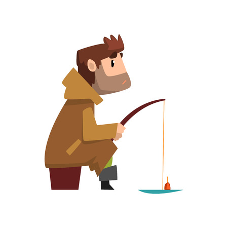 Fisherman character hat sitting on the shore with fishing rod, hobby or profession concept vector Illustration isolated on a white background.