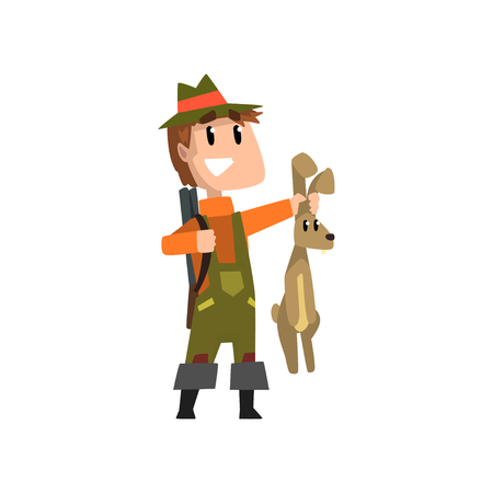 Male hunter with rifle holding hare, hobby or profession vector Illustration on a white background Ilustração