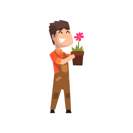 Male florist holding flowerpot, hobby or profession vector Illustration isolated on a white background. Illustration