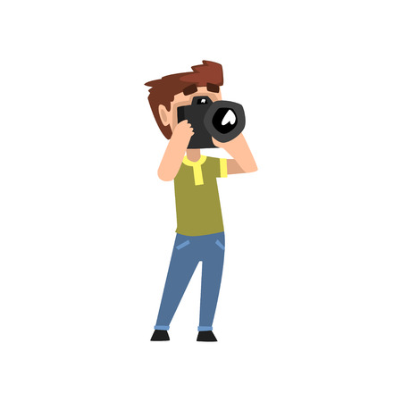 Male photographer character with photo camera hobby or profession vector Illustration isolated on a white background.