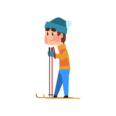 Skiing man in an orange jacket and blue hat vector Illustration isolated on a white background.