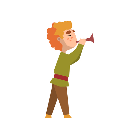 Man in medieval clothes blowing trumpet vector Illustration on a white background