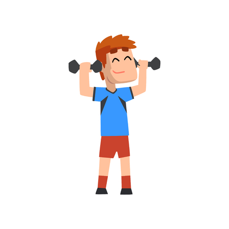 Male athlete exercising with dumbbells vector Illustration on a white background