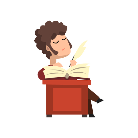 Male poet writing a quill on sheet of paper, hobby or profession concept vector Illustration on a white background