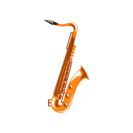Saxophone, music wind instrument vector Illustration on a white background