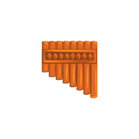 Bamboo pan flute, ethnic music wind instrument vector Illustration on a white background