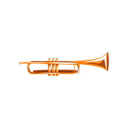 Brass trumpet, classical music wind instrument vector Illustration on a white background