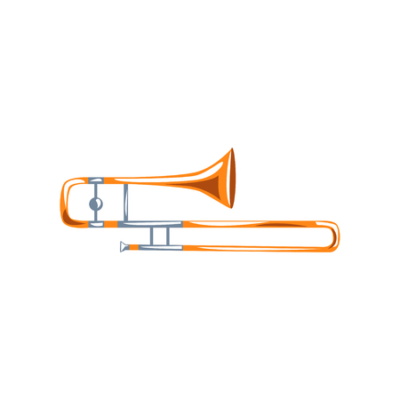 Trombone, classical music wind instrument vector Illustration on a white background
