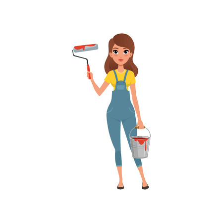 Female painter in uniform standing with roller and bucket in her hands, house renovation concept vector Illustration isolated on a white background.