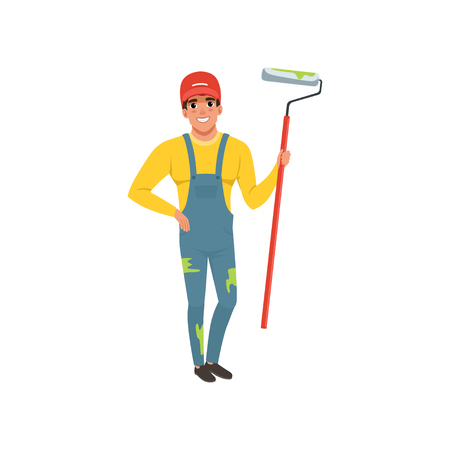 Male painter in uniform with roller paint, house renovation concept vector Illustration isolated on a white background.