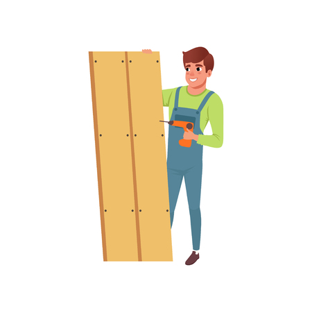 Male professional carpenter building a wooden construction vector Illustration isolated on a white background. Illusztráció