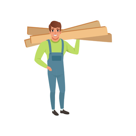 Male professional carpenter holding wooden planks vector Illustration isolated on a white background.