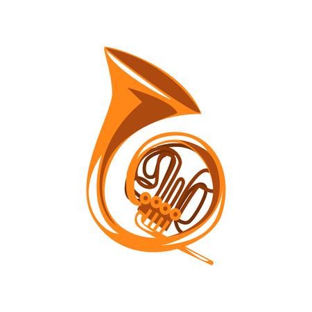 真鍮フレンチホーン、クラシック楽器管楽器ベクトルイラスト白背景  イラスト・ベクター素材