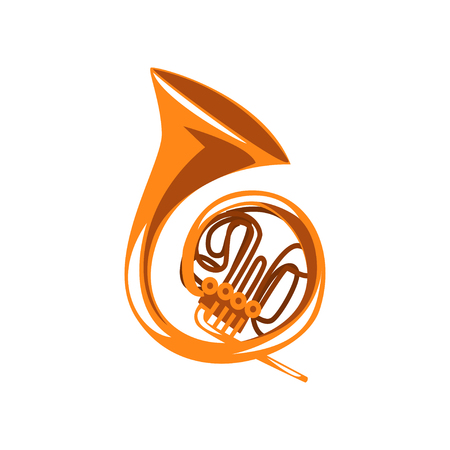 Brass french horn, classical music wind instrument vector Illustration on a white background