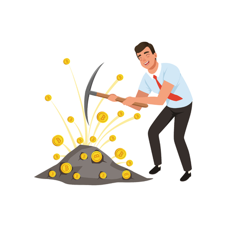 Guy mining cryptocurrency with pickaxe. Man extracting bitcoins. Virtual money theme. Cartoon businessman in blue shirt, black pants and red tie. Flat vector design