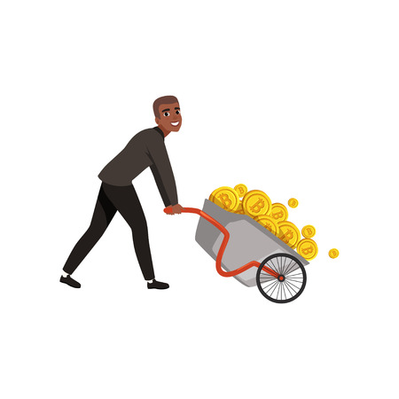 Young African-American businessman pushing wheelbarrow full of golden coins. Bitcoin and virtual money theme. Wealthy man in formal suit. Flat vector